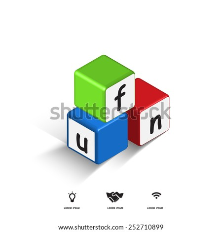 3d cube fun box and toy - stock vector