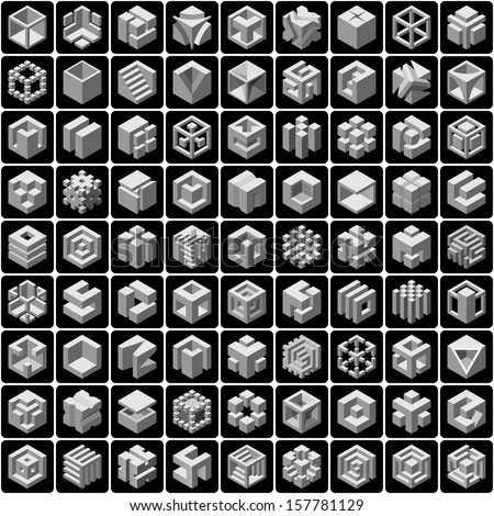 81 3d cube icons set - stock vector