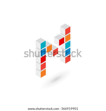 3d cube letter M logo icon design template elements