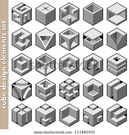 3d cube logo design pack - stock vector