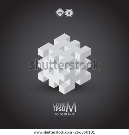 3D cube logo design. Science, medicine or technological symbol, icon, template - stock vector