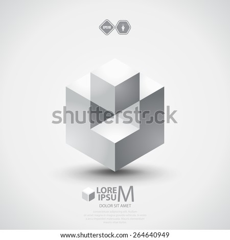 3D cube plus logo design. Science, business or technological symbol, icon, template - stock vector