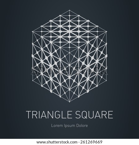 3d cube with low-poly mesh. Modern stylish logo. Design element with squares, triangles and rhombus. Vector logotype template. Grid structure. - stock vector