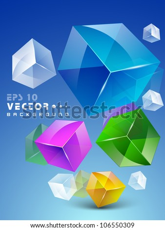 3D cubes, Abstract background. EPS 10. - stock vector