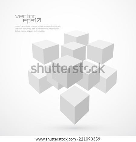 3d cubes abstract background. Logo template. Vector illustration - stock vector