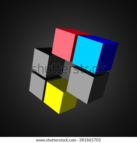 3D cubes. Blue cube. Black cube. Red cube. Yellow cube. Vector illustration. - stock vector