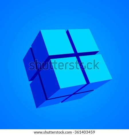 3d cubes. Blue cube. Vector illustration. - stock vector