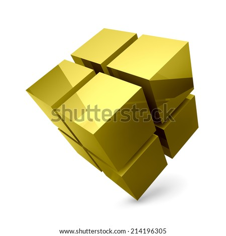 3D cubes construction. Business background. Vector illustration. Can be used  for business concept, education , brochure object. - stock vector
