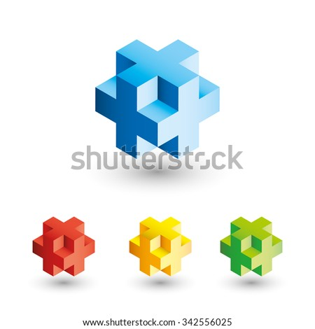 3D cubes in different colors - stock vector