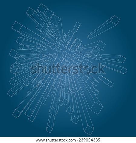 3D cubes vector background. - stock vector