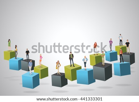 3d cubes with business people. Infographic design.