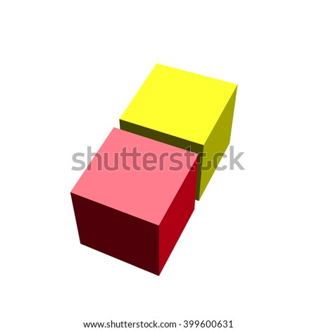 3D cubes. Yellow cube. Red cube. Vector illustration. - stock vector