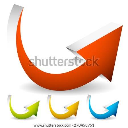 3D Curved, Bent Colorful Vector Arrow Elements Isolated on White. Eps 10 - stock vector