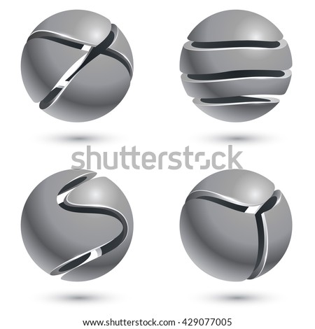 3D cut metal sphere signs isolated on white background. Vector set of metal round emblems. Metal balls with cuts vector illustration. - stock vector