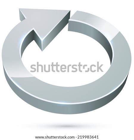 3D cycle round metal arrow sign isolated on white background. - stock vector
