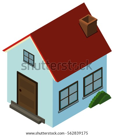 3D design for small house with red roof illustration
