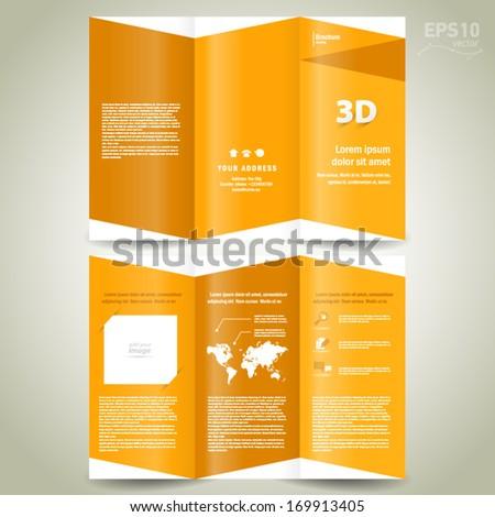 3d dimensional design brochure template folder leaflet yellow  background - stock vector