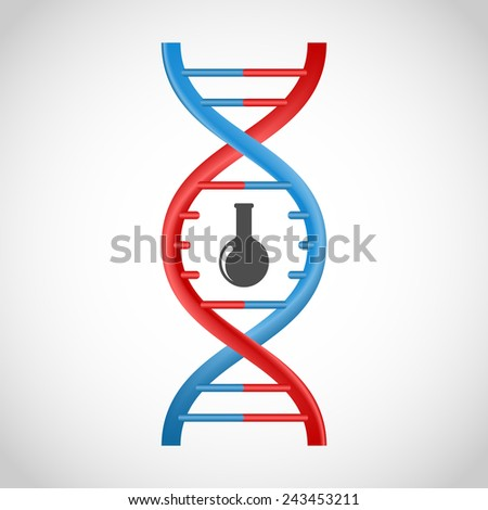 3D DNA icon. - stock vector