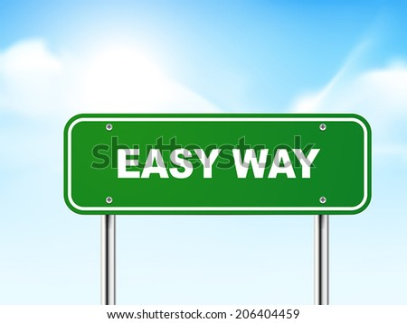 3d easy way road sign isolated on blue background - stock vector