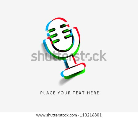 3d effect colorful mic icon. - stock vector