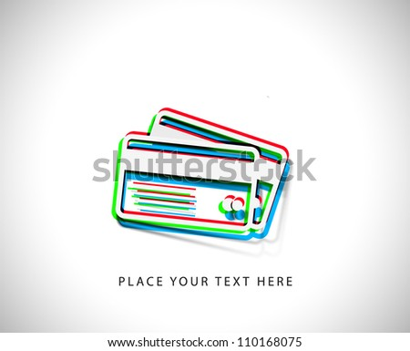 3d effect credit cards sticker icon, vector