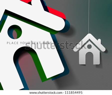 3d effect home sticker icon, vector - stock vector