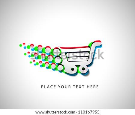 3d effect vector shopping cart item - buy buttons - stock vector