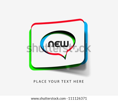 3d effect vectorNew labels, tag, sticker design - stock vector