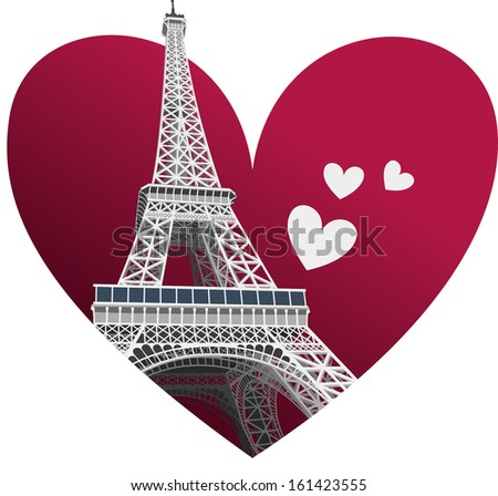 3D Eiffel Tower Romantic Illustration - stock vector