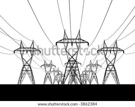 3D Electric powerlines over sunrise - stock vector