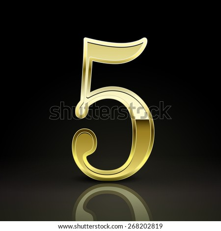 3d elegant golden number 5 isolated on black background - stock vector