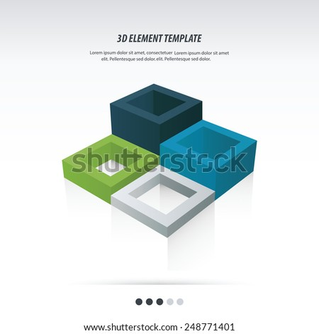 3d Element Template design Abstract geometrical background - stock vector