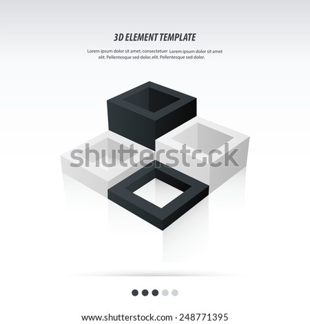 3d Element Template design Abstract geometrical black and white color - stock vector