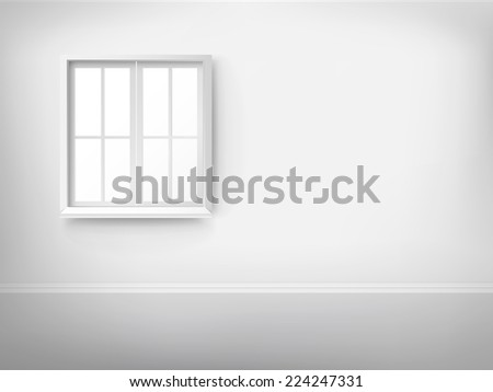 3d empty room with window over the wall - stock vector