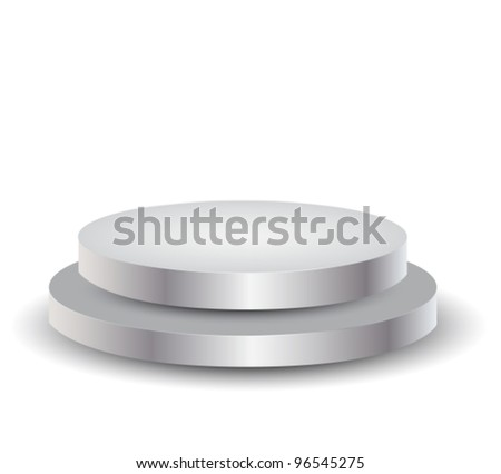 3d Empty white podium over white,vector illustration - stock vector