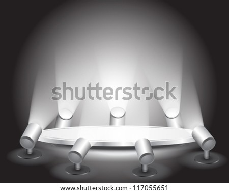 3d Empty white podium with light for design, vector - stock vector