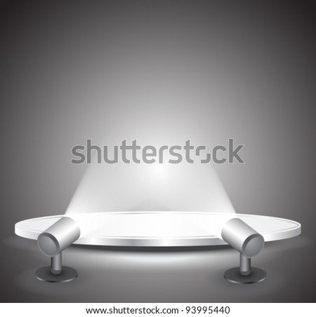 3d Empty white podium with light, vector illustration - stock vector