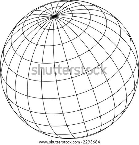 3D empty wired sphere - stock vector
