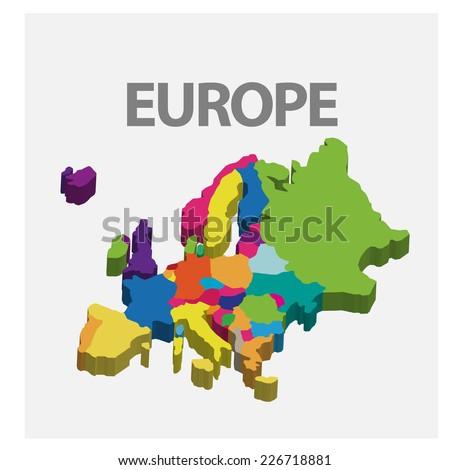 3d Europe map. vector - stock vector
