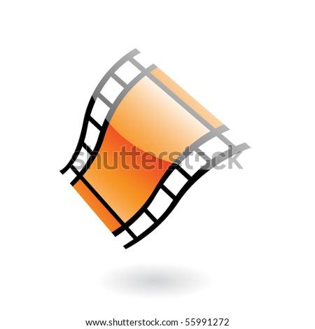 3d film reel isolated on white - stock vector