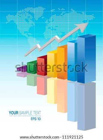 3D financial graph stat business background - stock vector