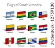 3D Flags of South America - stock photo