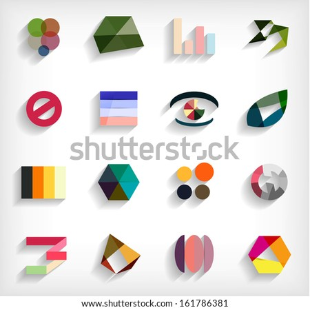 3d flat geometric abstract business icon set - stock vector