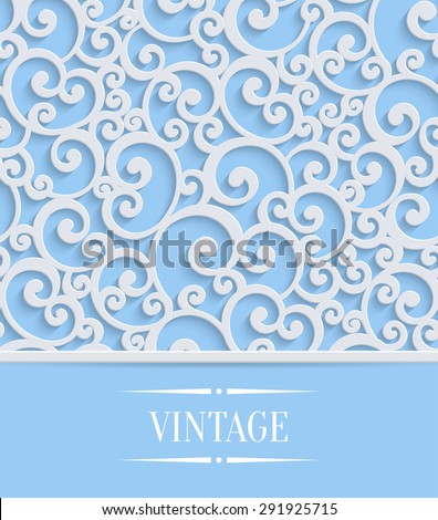 3d Floral Blue Wedding or Invitation Card with Curl Pattern. Vector Swirl Design - stock vector