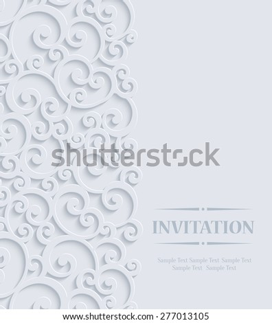3d Floral Curl Wedding or Invitation Card with Swirl Damask Pattern - stock vector
