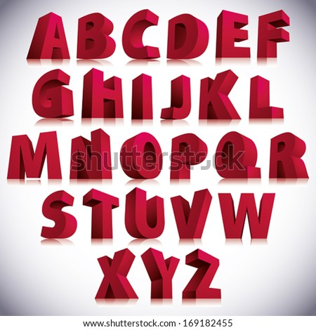 3D font, big red letters standing, vector eps 8. - stock vector