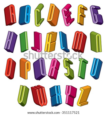 3d font, vector colorful letters, geometric dimensional alphabet, best for use in advertising and web design. - stock vector