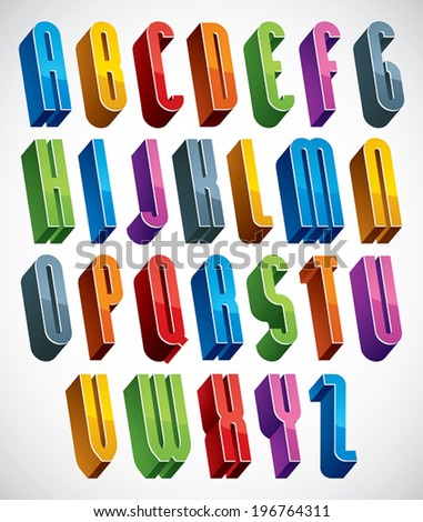 3d font, vector tall thin letters, geometric dimensional alphabet made with round shapes, best for use in advertising and web design. - stock vector