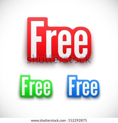 3D Free stickers set. - stock vector
