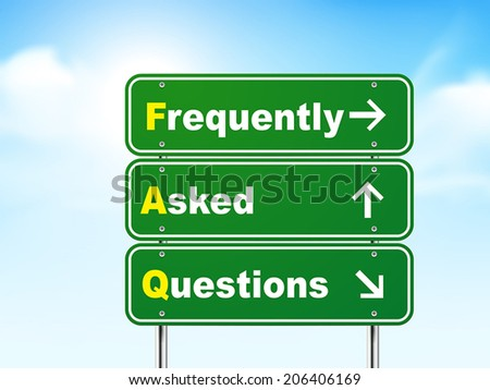 3d frequently asked questions road sign isolated on blue background - stock vector